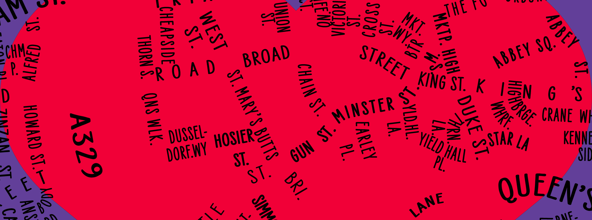 Pride of Reading Awards 2019 Typographic Map