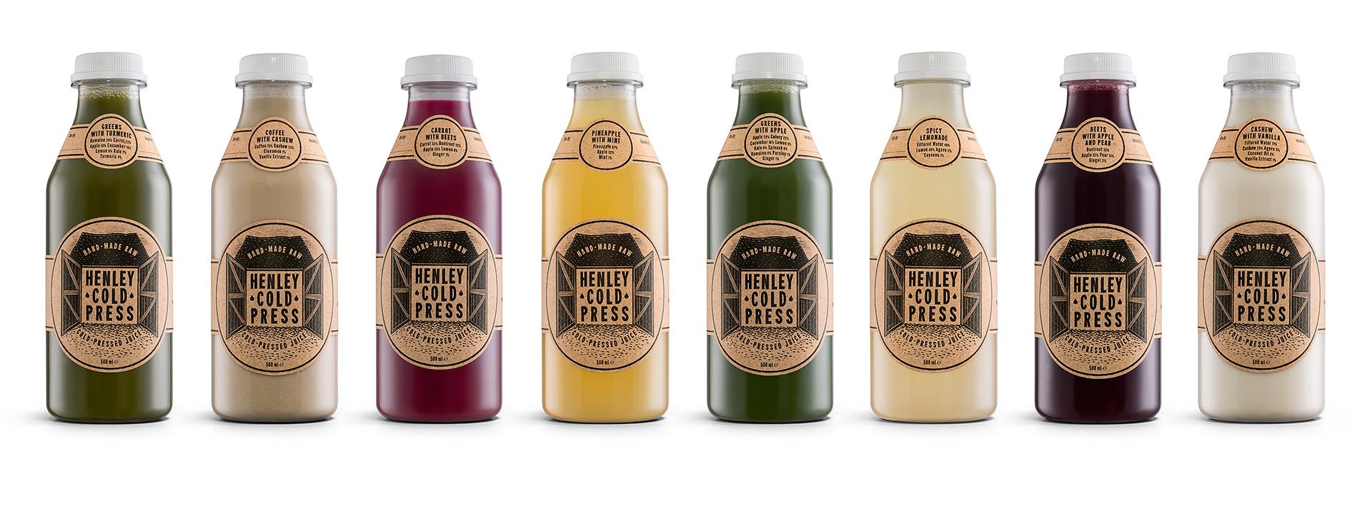 Henley Cold Press Full Range Bottles