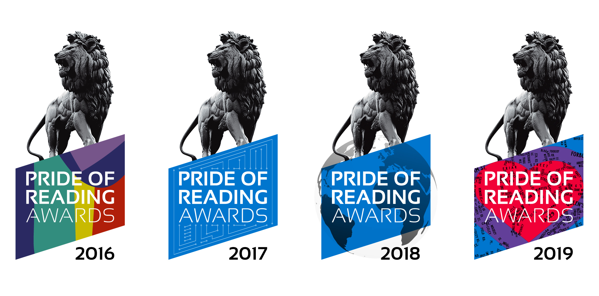 Pride of Reading Awards 2019 Typographic Map