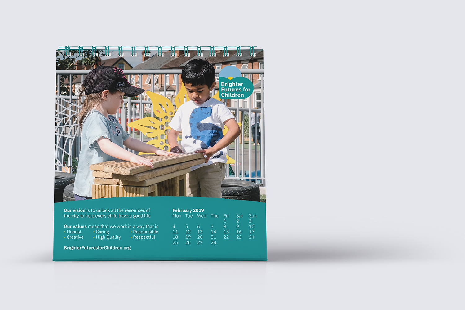 Brighter Futures desk calendar