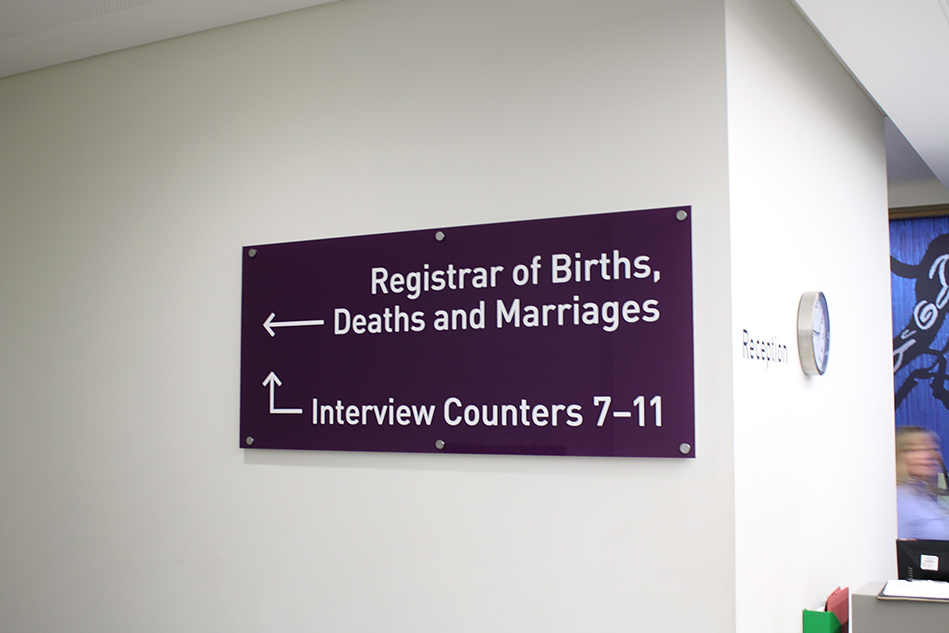 Registrar of Births, Deaths and Marriages signage