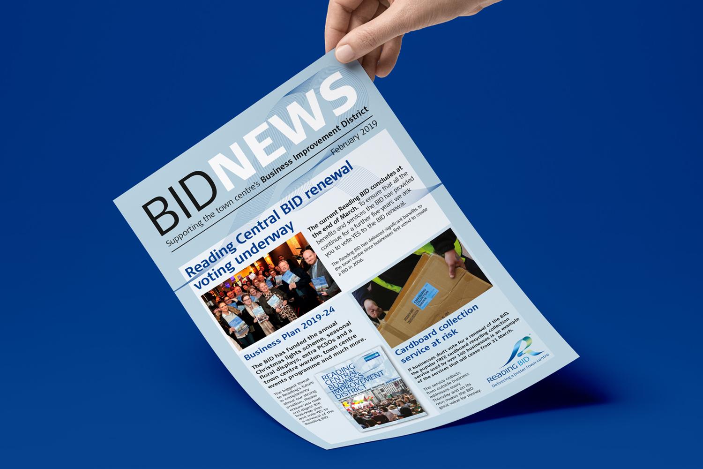 Reading UK BID newsletter design