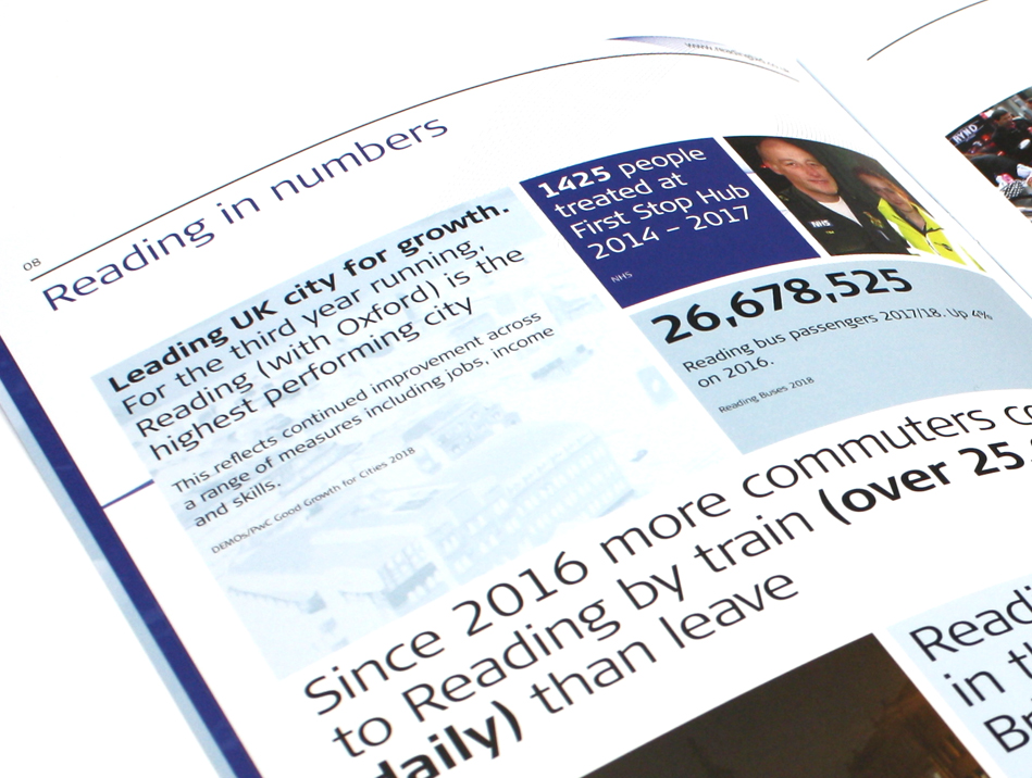 Reading UK BID brochure design