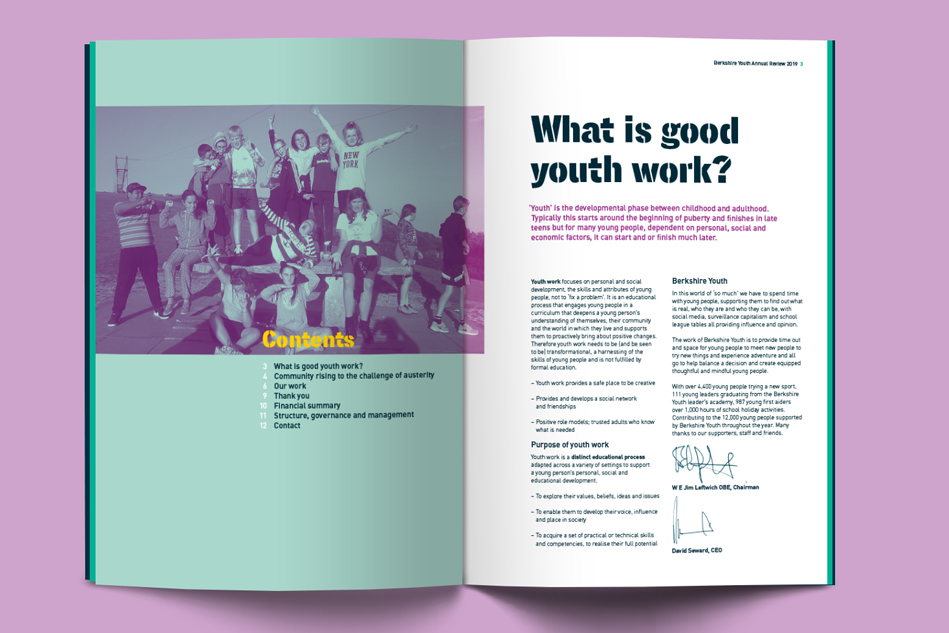 Berkshire Youth report spread design