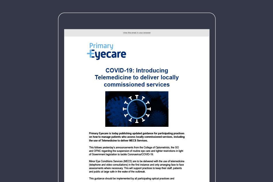 Primary Eyecare Mailchimp newsletter design